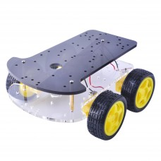 Dual Level Geared 4 Wheel Drive Acrylic Robot Chassis